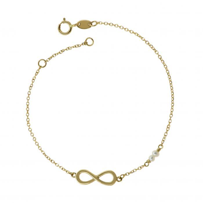 SKU-51307 / Βραχιόλι Ιnfinity Χρυσός Κ14 με Μαργαριτάρια