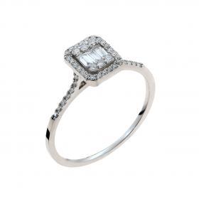 Δαχτυλίδι Λευκόχρυσος Κ18 με Διαμάντια SKU-51162