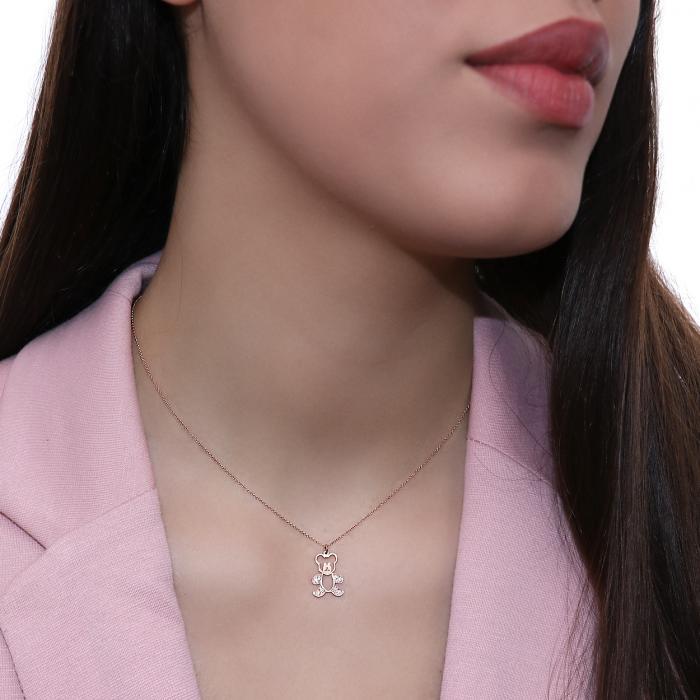 Κολιέ Αρκουδάκι Ροζ Χρυσός Κ14 με Διαμάντια