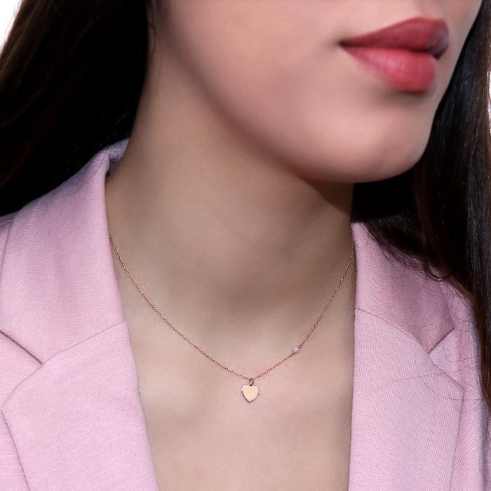 Κολιέ Καρδιά Ροζ Χρυσός Κ14 με Μαργαριτάρι
