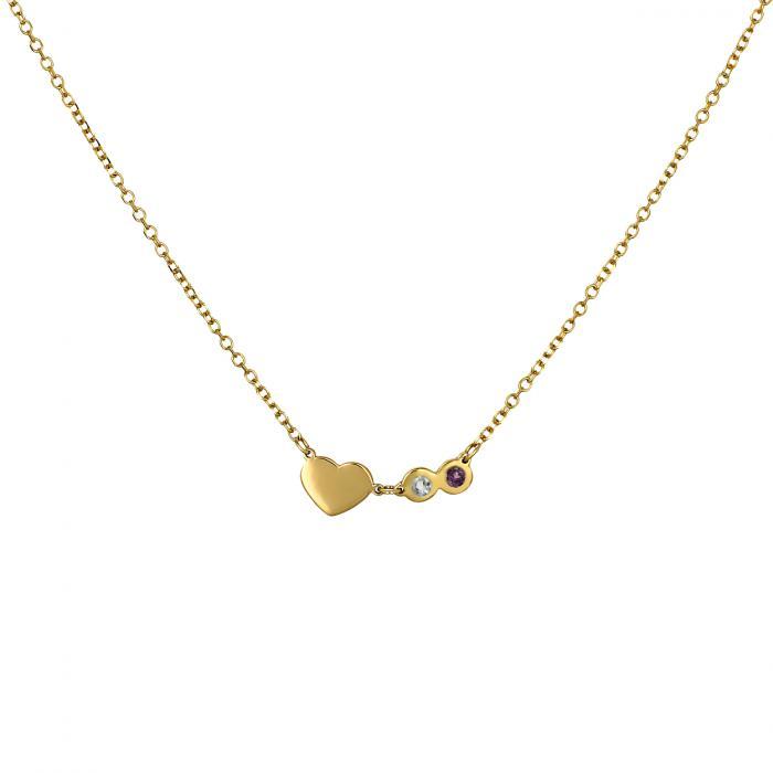 Κολιέ με Καρδιά Χρυσός  Κ14 με 2 Γενέθλιους Λίθους