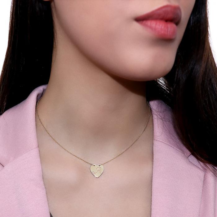 Κολιέ Καρδιά Χρυσός Κ14 με Διαμάντι