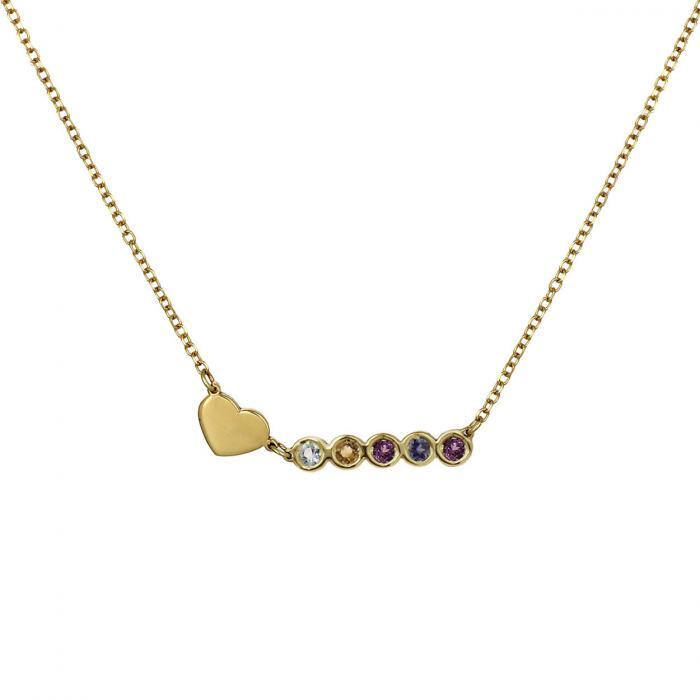 Κολιέ με Καρδιά Χρυσός  Κ14 με 5 Γενέθλιους Λίθους