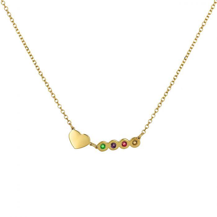 Κολιέ με Καρδιά Χρυσός  Κ14 με 4 Γενέθλιους Λίθους