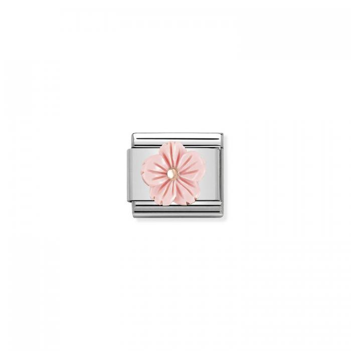 SKU-51001 / Link Nomination Flower in Pink coral Ανοξείδωτο Ατσάλι & Ασήμι 925°