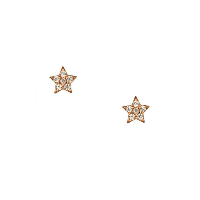 SKU-51768 / Σκουλαρίκια Αστέρι Ροζ Χρυσός Κ14 με Ζιργκόν