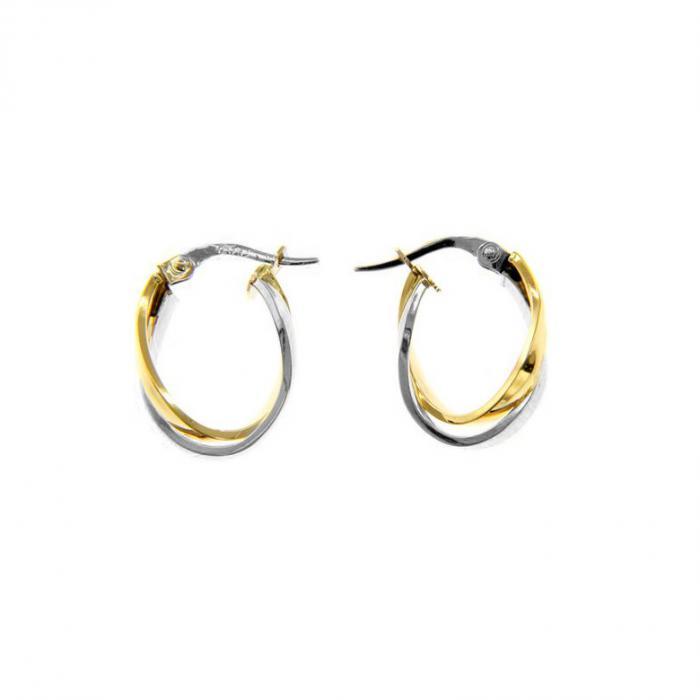 SKU-51622 / Σκουλαρίκια Κρίκοι Χρυσός & Λευκόχρυσος Κ9