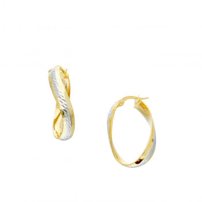 SKU-51623 / Σκουλαρίκια Κρίκοι Χρυσός & Λευκόχρυσος Κ9