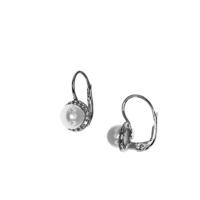 SKU-51615 / Σκουλαρίκια Ροζέτα Λευκόχρυσος Κ9 με Ζιργκόν & Μαργαριτάρι