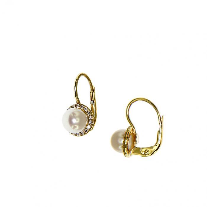 SKU-51614 / Σκουλαρίκια Ροζέτα Χρυσός Κ9 με Ζιργκόν & Μαργαριτάρι