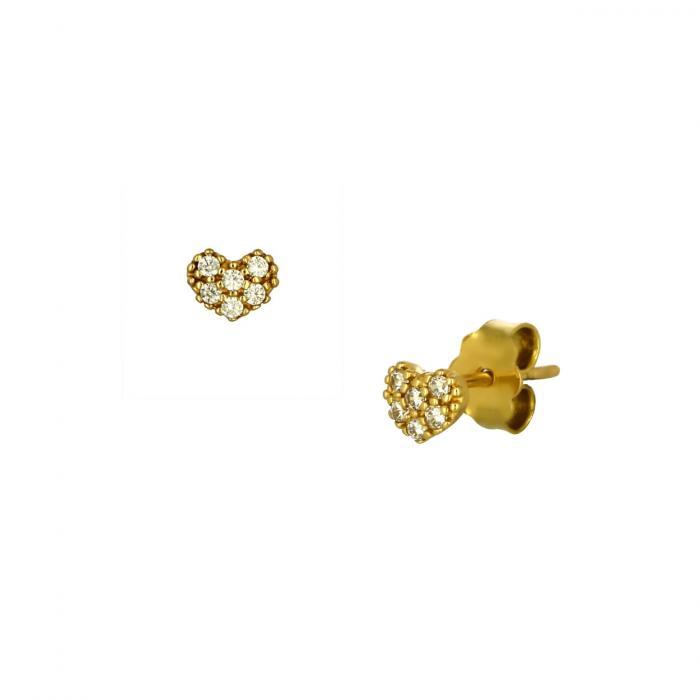 SKU-51753 / Σκουλαρίκια Καρδιά Χρυσός Κ14 με Ζιργκόν