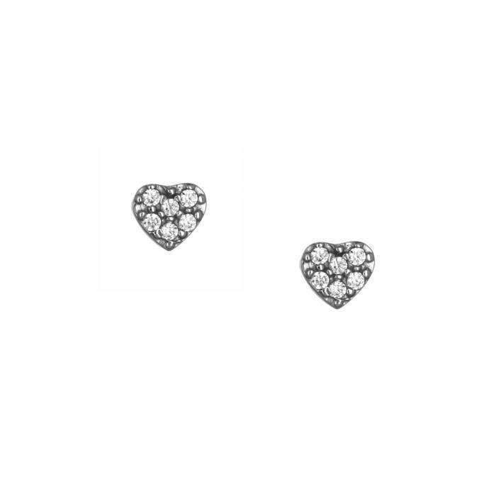 SKU-51751 / Σκουλαρίκια Καρδιά Λευκόχρυσος Κ14 με Ζιργκόν