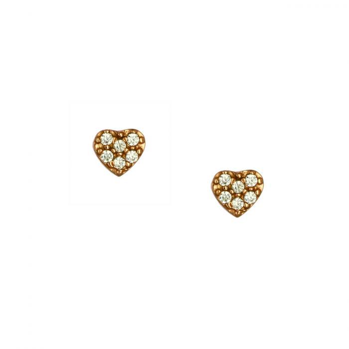 SKU-51750 / Σκουλαρίκια Καρδιά Ροζ Χρυσός Κ14 με Ζιργκόν
