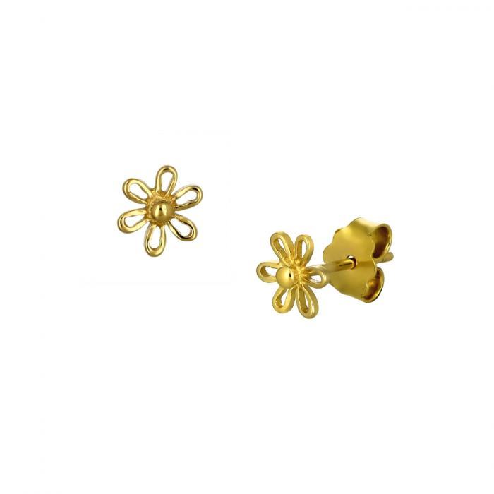 SKU-51744 / Σκουλαρίκια Λουλούδι Χρυσός Κ14 με Ζιργκόν