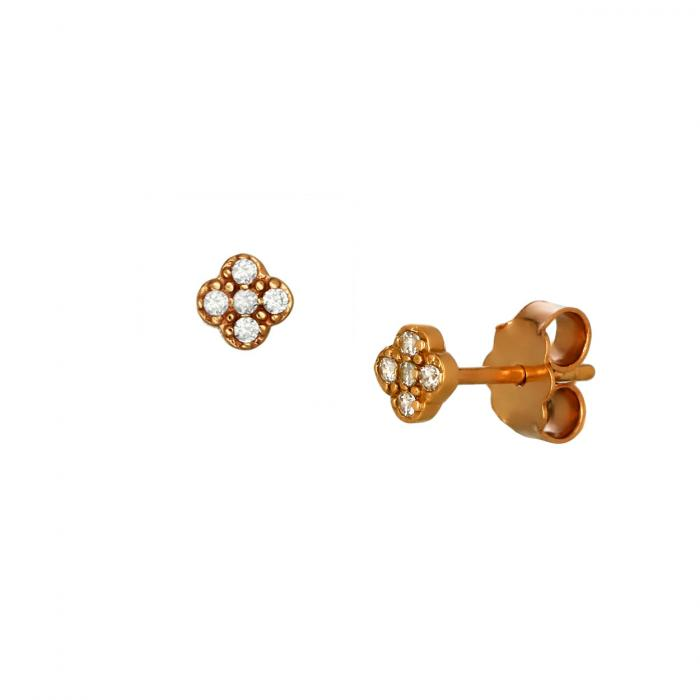 SKU-51759 / Σκουλαρίκια Καρφωτά Ροζ Χρυσός Κ14 με Ζιργκόν