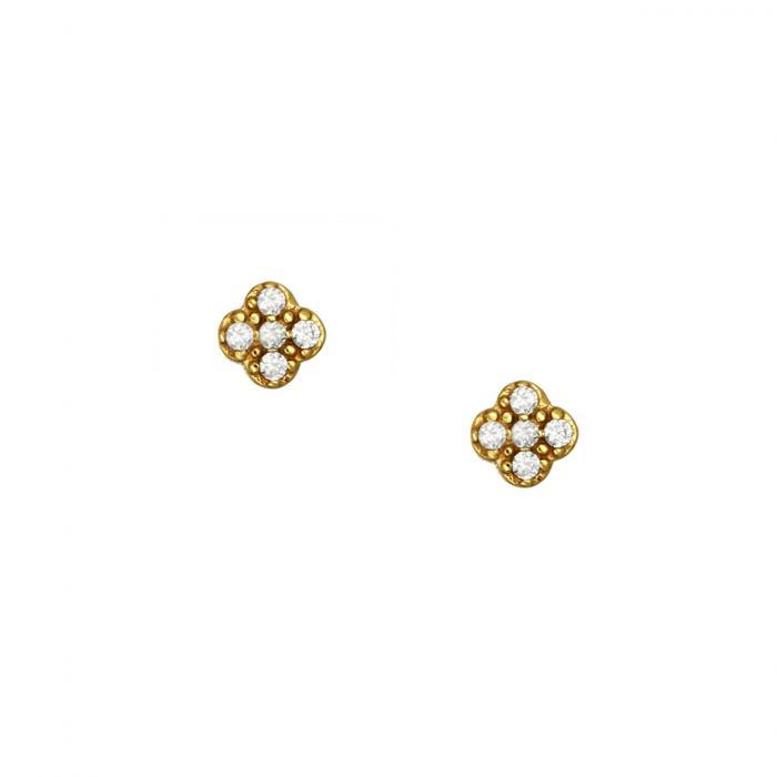 SKU-51760 / Σκουλαρίκια Καρφωτά Χρυσός Κ14 με Ζιργκόν