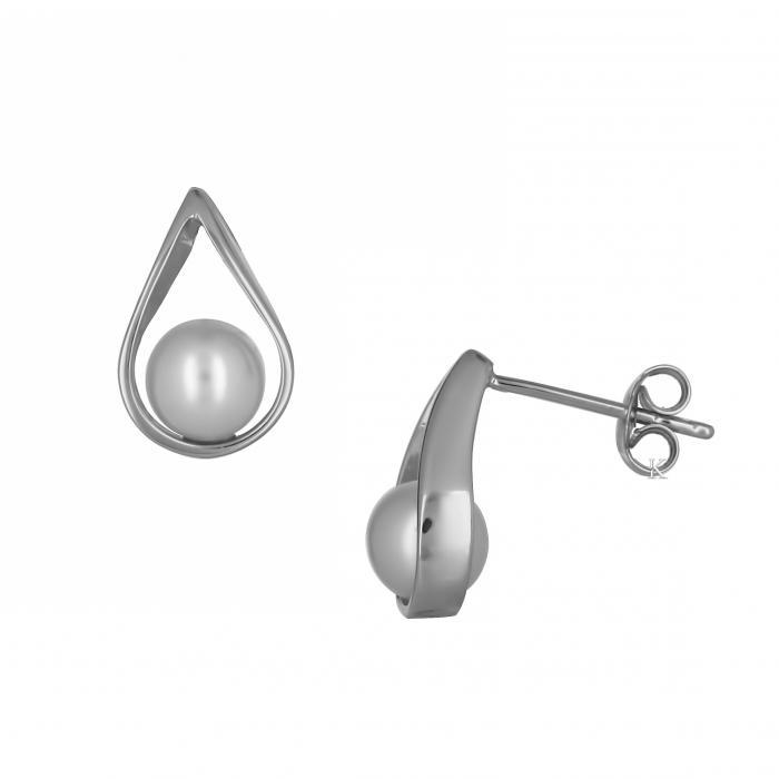 SKU-51286 / Σκουλαρίκια Λευκόχρυσος Κ14 με Μαργαριτάρι