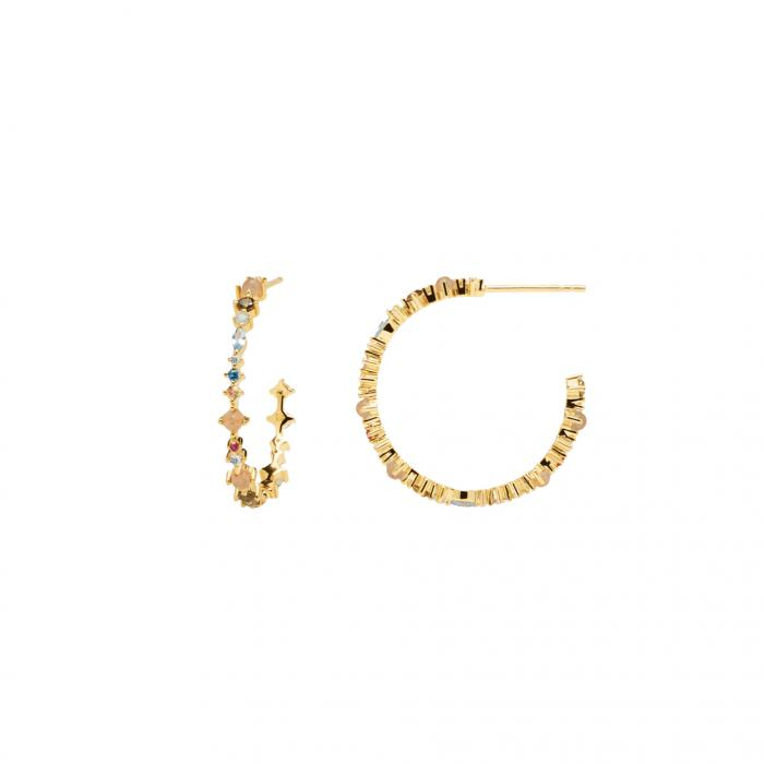 SKU-51563 / Σκουλαρίκια Κρίκοι PDPAOLA Halo Gold Ασήμι 925°