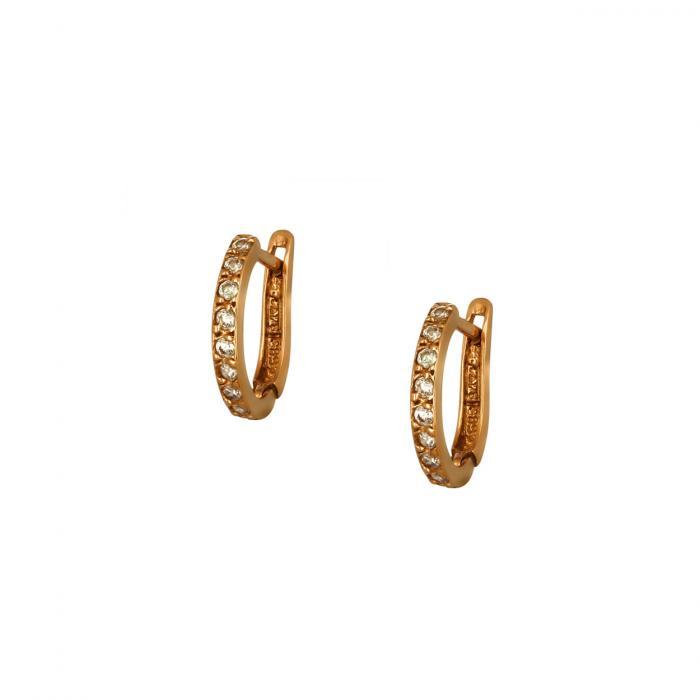 SKU-51804 / Σκουλαρίκια Κρίκοι Ροζ Χρυσός Κ14 με Ζιργκόν