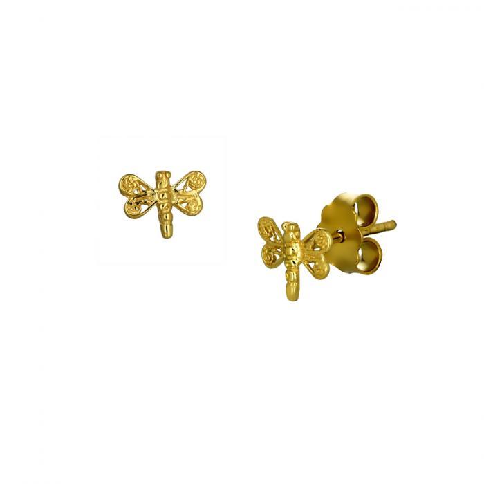 SKU-51762 / Σκουλαρίκια Λιβελούλα Χρυσός Κ14