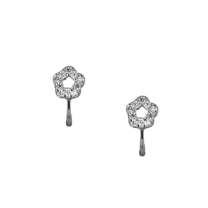 SKU-51785 / Σκουλαρίκια Λουλούδι Λευκόχρυσος Κ14 με Ζιργκόν