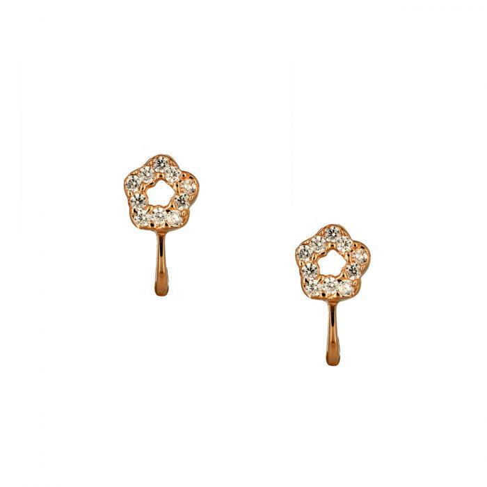 SKU-51787 / Σκουλαρίκια Λουλούδι Ροζ Χρυσός Κ14 με Ζιργκόν
