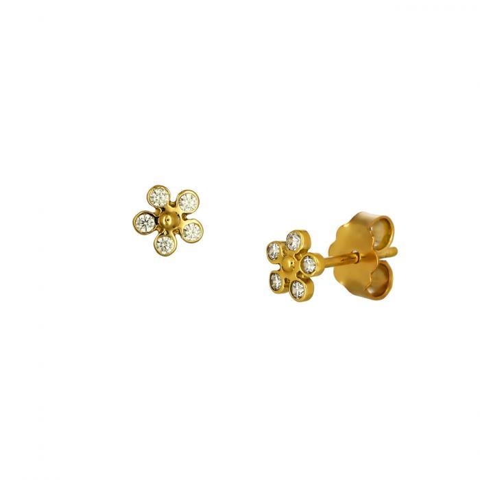 SKU-51757 / Σκουλαρίκια Λουλούδι Χρυσός Κ14 με Ζιργκόν