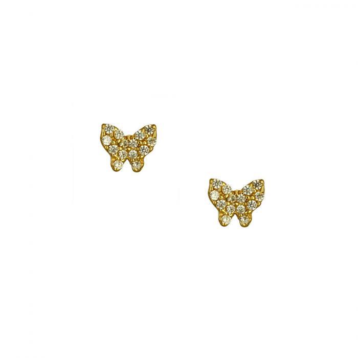 SKU-51766 / Σκουλαρίκια Πεταλούδα Χρυσός Κ14 με Ζιργκόν