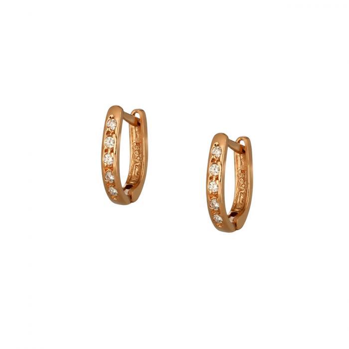 SKU-51793 / Σκουλαρίκια Ροζ Χρυσός Κ14 με Ζιργκόν