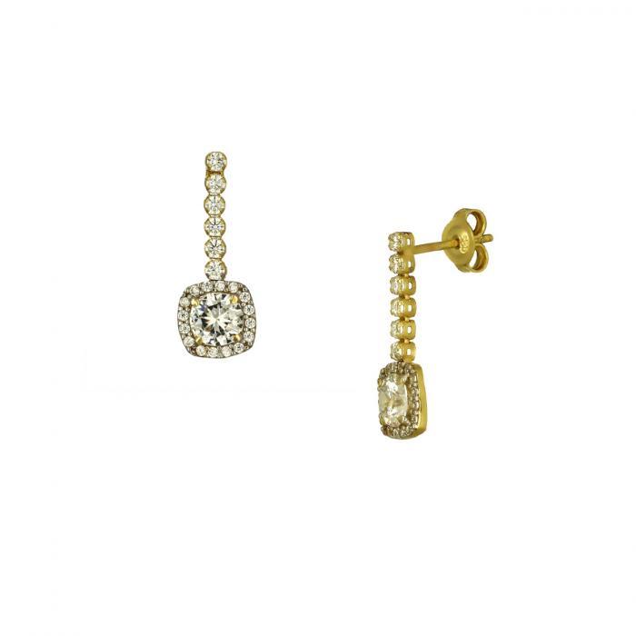 SKU-51582 / Σκουλαρίκια Ροζέτα Χρυσός Κ14 με Ζιργκόν