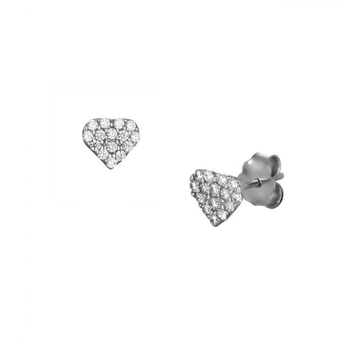SKU-51735 / Σκουλαρίκια Καρφωτά Λευκόχρυσος Κ14 με Ζιργκόν