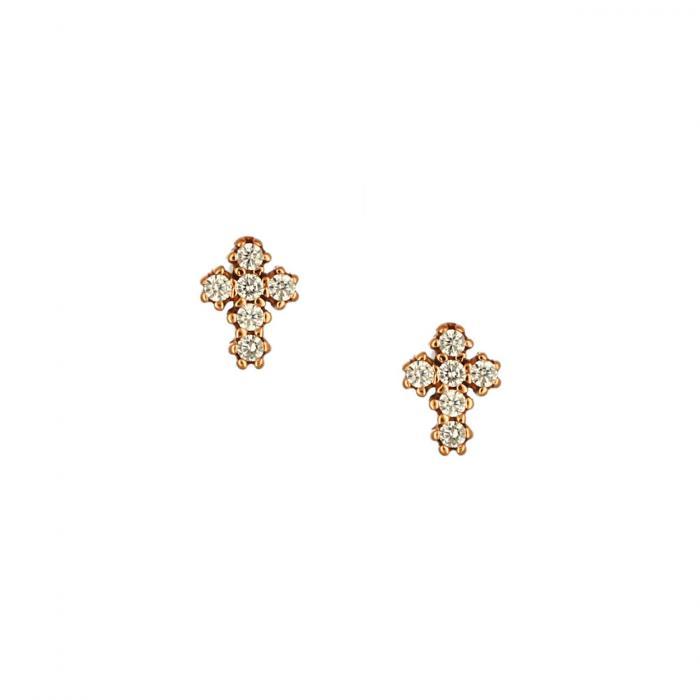SKU-51748 / Σκουλαρίκια Σταυρός Ροζ Χρυσός Κ14 με Ζιργκόν