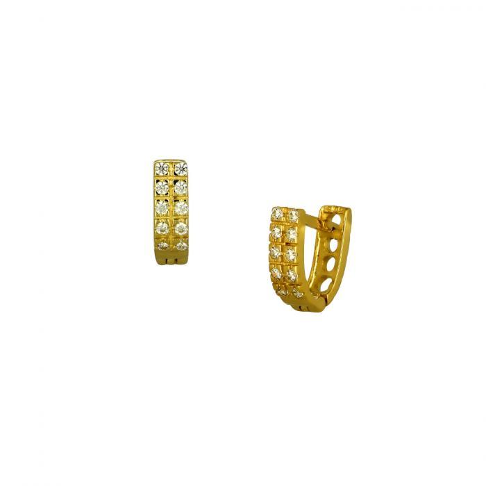 SKU-51783 / Σκουλαρίκια Χρυσός Κ14 με Ζιργκόν