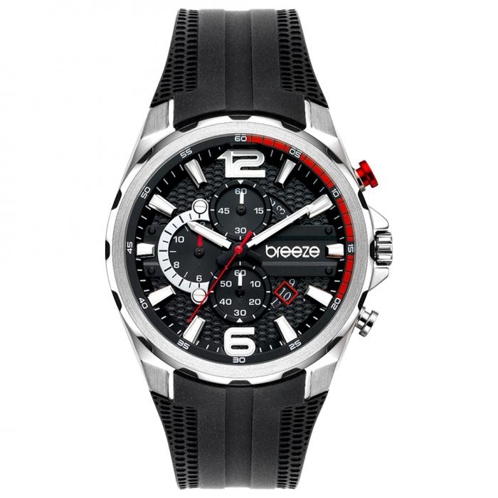SKU-52627 / BREEZE Intrusio Chronograph Black Silicone Strap