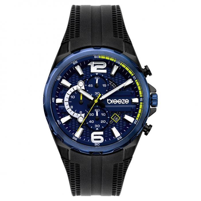 SKU-52628 / BREEZE Intrusio Chronograph Black Silicone Strap