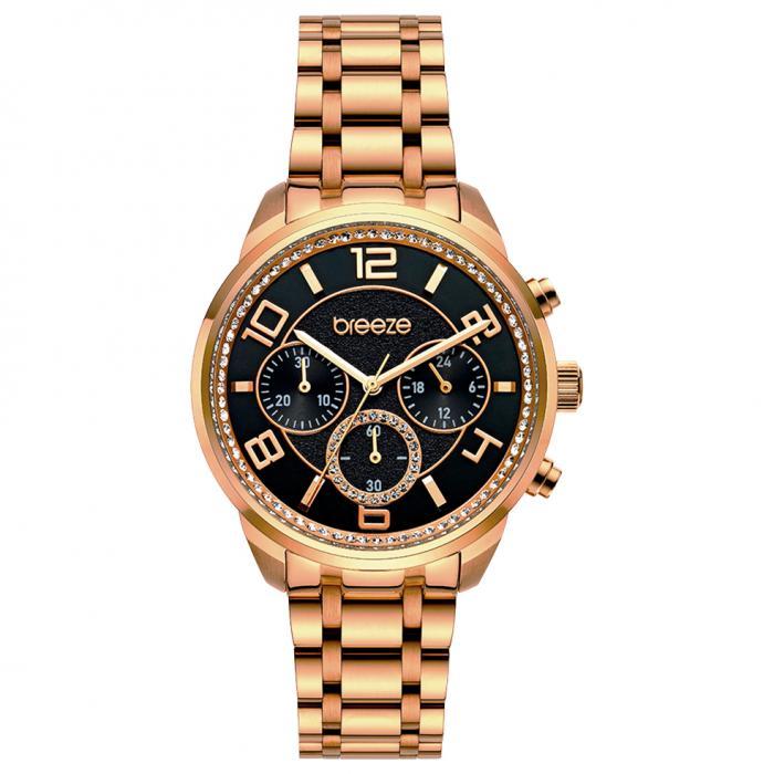 SKU-52620 / BREEZE Myrina Crystals Chronograph Rose Gold Stainless Steel Bracelet