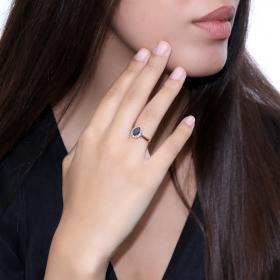 Μονόπετρο Δαχτυλίδι Ροζ Χρυσός Κ18 με Μαύρο Διαμάντι & Λευκά Διαμάντια Δαχτυλίδια