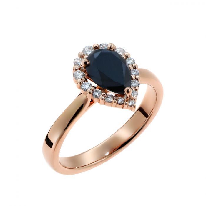 SKU-52545 / Μονόπετρο Δαχτυλίδι Ροζ Χρυσός Κ18 με Μαύρο Διαμάντι & Λευκά Διαμάντια