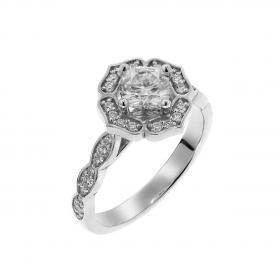Δαχτυλίδι Ροζέτα Λευκόχρυσος Κ18 με Μοϊσανίτη & Διαμάντια SKU-52548