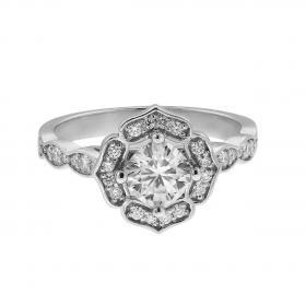 Δαχτυλίδι Ροζέτα Λευκόχρυσος Κ18 με Μοϊσανίτη & Διαμάντια Δαχτυλίδια