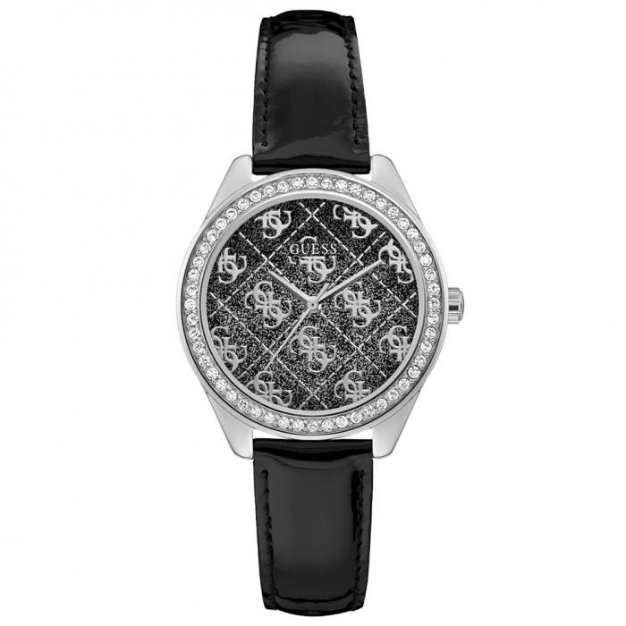 SKU-52703 / GUESS Sugar Crystals Black Leather Strap
