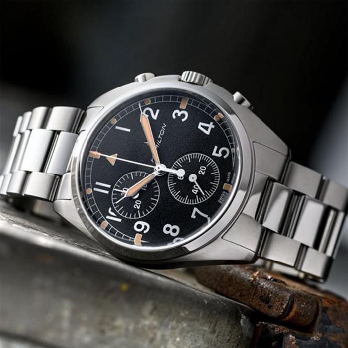 HAMILTON Khaki Aviation Pilot Pioneer Chronograph Silver Stainless Steel Bracelet