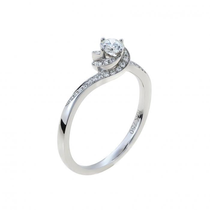 SKU-52269 / Μονόπετρο Δαχτυλίδι Λευκόχρυσος Κ18 με Διαμάντια