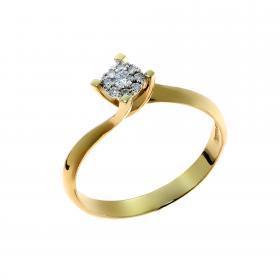 Μονόπετρο Χρυσό Κ18 με Διαμάντια SKU-52885