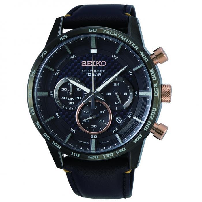 SKU-52207 / SEIKO Chronograph Black Leather Strap