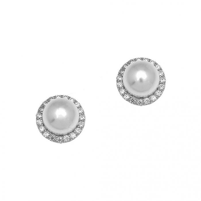 SKU-52834 / Σκουλαρίκια Καρφωτά Ασήμι 925° με Πέρλες & Ζιργκόν
