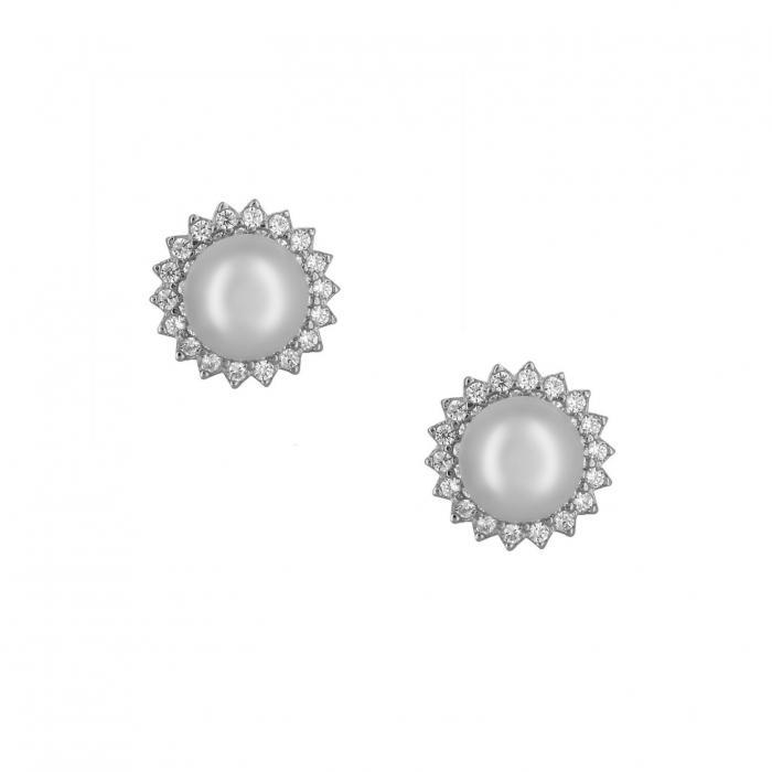 SKU-52460 / Σκουλαρίκια Λευκόχρυσος Κ14 με Μαργαριτάρια & Ζιργκόν