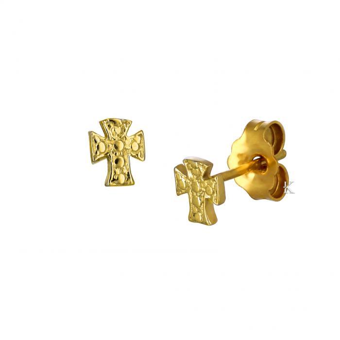 SKU-52462 / Σκουλαρίκια Σταυρός Χρυσός Κ9