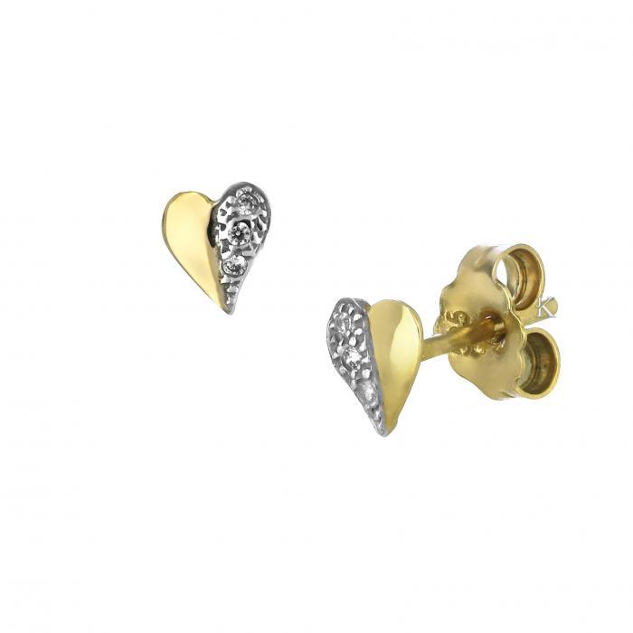 SKU-52464 / Σκουλαρίκια Καρδιά Χρυσός & Λευκόχρυσος Κ9 με Ζιργκόν