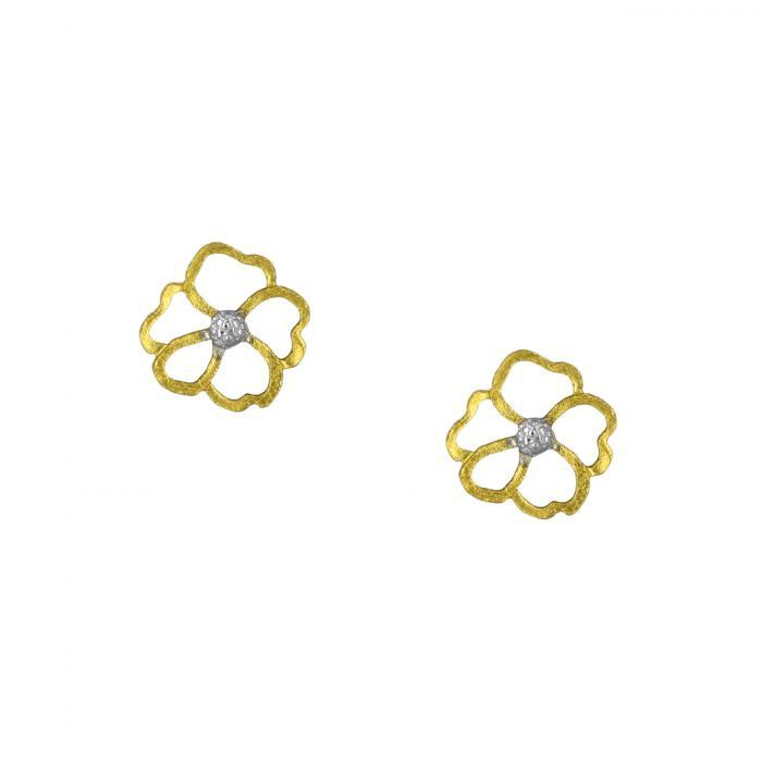 SKU-52465 / Σκουλαρίκια Λουλούδι Χρυσός & Λευκόχρυσος Κ9